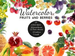 Watercolor fruits and berries 水彩水果和浆果