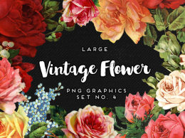 大型复古花卉图第4号 Large Vintage Flower Graphics No. 4