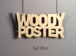 PSD立体文字效果Psd Woody Text Effect