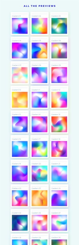 炫彩梦幻渐变矢量背景 Creative Gradient Backgrounds Pack 1876015