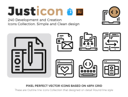 轮廓线图标集合 Justicon Development Icons