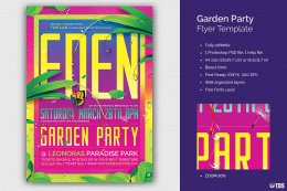 花园派对传单Garden Party Flyer PSD