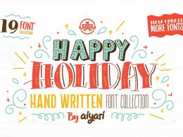 一款手写卡通英文字体Holiday Handwritten Font Collection