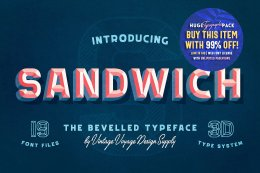 一款创意3D英文字体Sandwich ? 50% ? Bevelled 3D Type