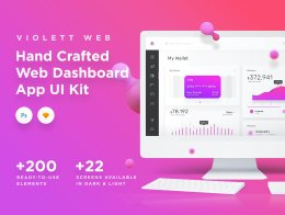 一套丰富简约的Dashboard&Admin应用程序 Violett  Web Dashboard UI Kit 2550454