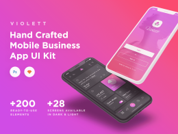 非常适合iPhone X的一套扁平化UI套件 Violett iOS UI Kit