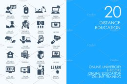 远程教育图标 Distance education icons