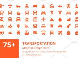 Material Design风格的 90个交通工具图标 90 Transportation Material Icons