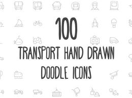 100个交通工具手绘图标 100 Transport Hand Drawn Doodle Icon