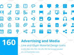 160个广告和媒体图标 160 Advertising and Media Icons