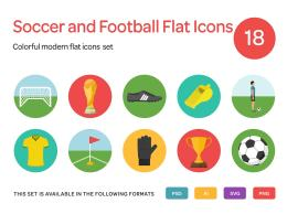 足球相关的扁平化图标 Soccer and Football Flat Icons Set