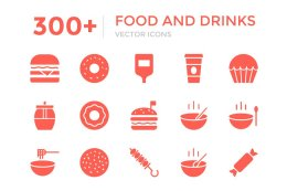 300+ 食物和饮料图标 300+ Food and Drinks Vector Icons