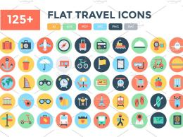 125+旅行图标 125+ Flat Travel Icons