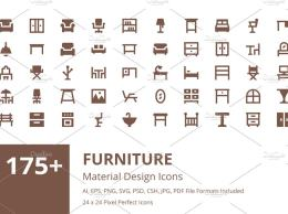 175+ 家具设计图标 175+ Furniture Material Design Icons