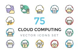 75个云技术矢量图标 75 Cloud Computing Vector Icons