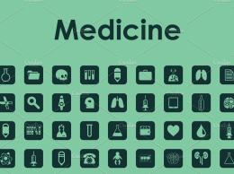 极简主义的医学图标 Set of medicine simple icons
