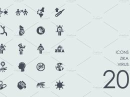 病毒图标 Zika virus icons