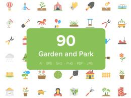 90个花园扁平化图标 90 Garden and Park Flat Icons Set