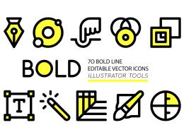 有趣加粗的 Adobe illustrator 工具图标 BOLD icons Adobe Illustrator tools