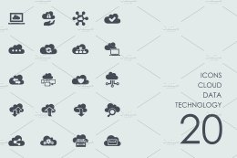 云数据技术图标 Cloud data technology icons