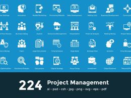 224项目脑图图标 224 Project Managment Vector Icons