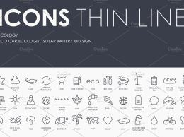 生态细线图标 Ecology thinline icons