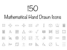 150个数学手绘图标 150 Mathematical Hand Drawn Icons