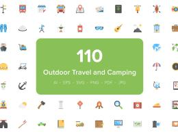 110 户外旅行野营图标 110 Outdoor Travel and Camping Icons