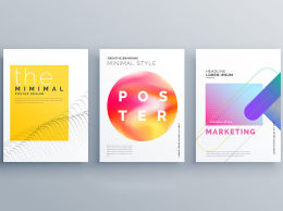 创意极简不规则矢量海报Creative Minimal Cover Page Or Brochure Flyer Design Te...