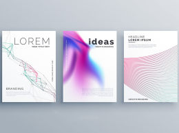 现代抽象线条矢量海报Abstract Line Shape And Fluid Style Covers Set In Modern ...