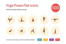 Yoga Poses Flat Icons Set