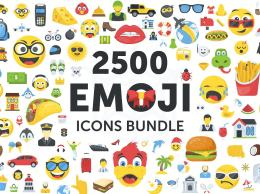 2500个超大表情合集包矢量素材 Emoji Icons Bundle 2065490