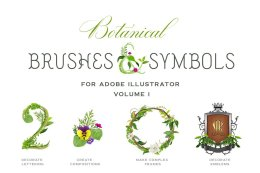 创意植物设计素材 Botanical Brushes & Symbols 365327