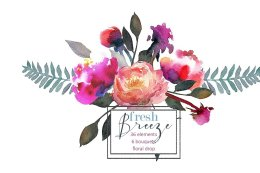 桃色牡丹手绘水彩素材 Peach Peonies Watercolor Clipart