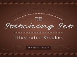 缝纫线效果的Ai笔刷 The Stitching Set – AI Brush 6355