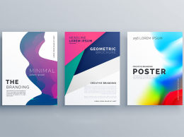册子模板单张传单 设计Set Of Minimal Brochure Template Leaflet Flyer Design In...