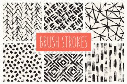 干墨笔刷背景 Brush Strokes. Seamless Patterns v